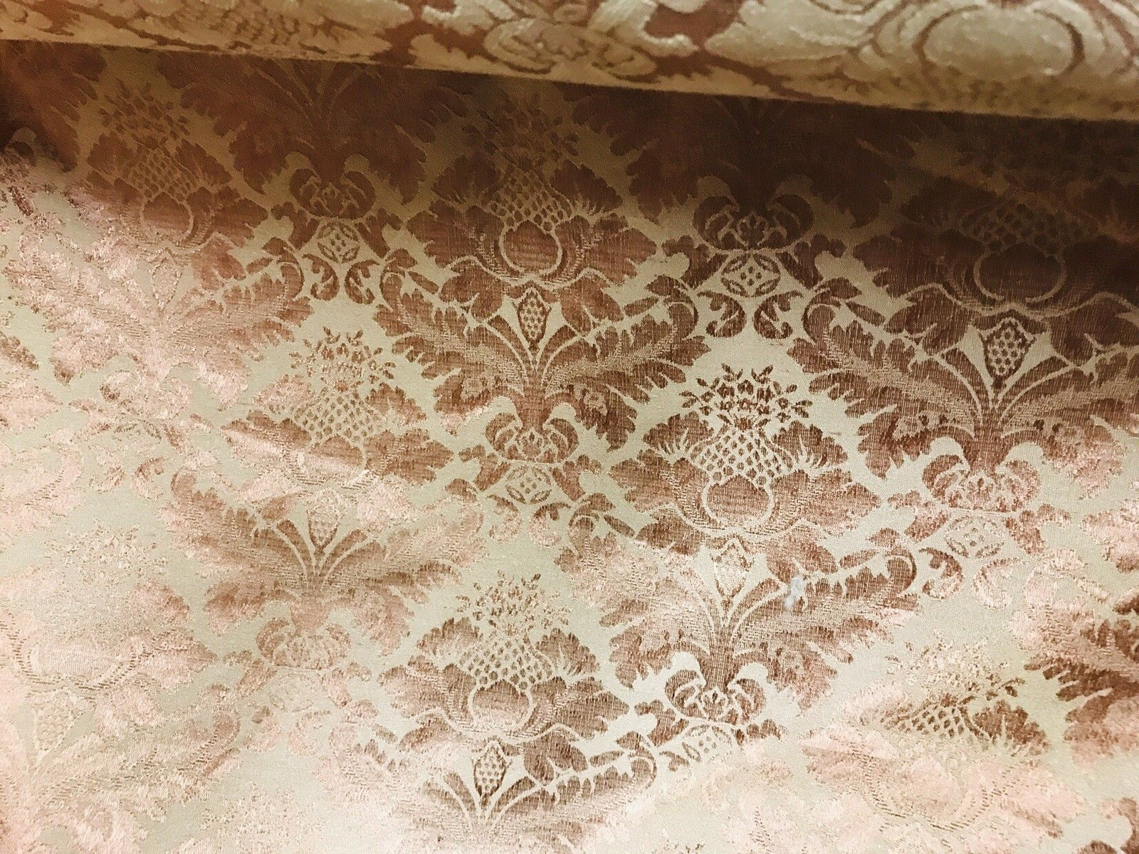 NEW SALE Designer Brocade Satin Damask Fabric- Antique Copper- By The yard - Fancy Styles Fabric Boutique