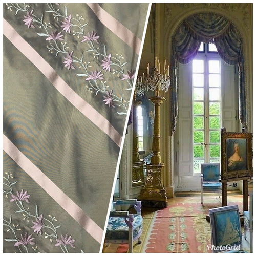 NEW! SALE! 100% Silk Taffeta Embroidered Fabric- Green With Lavender Floral