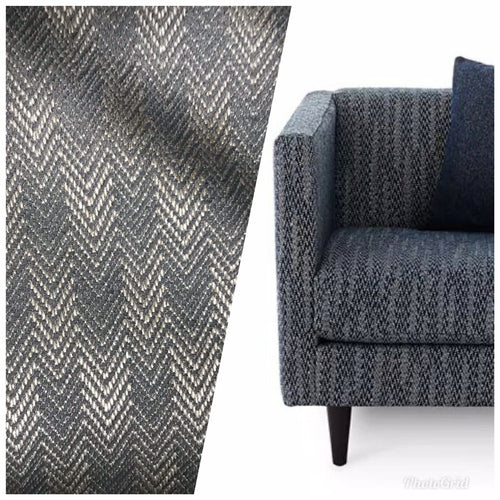 Designer Upholstery Herringbone Chevron Pattern Tweed Fabric -Blue-Gray