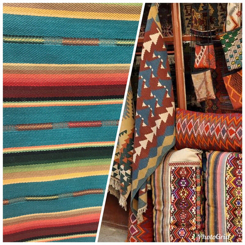 Designer Cotton Aztec Kilim Rug Inspired Upholstery Decorating Fabric- Teal BTY
