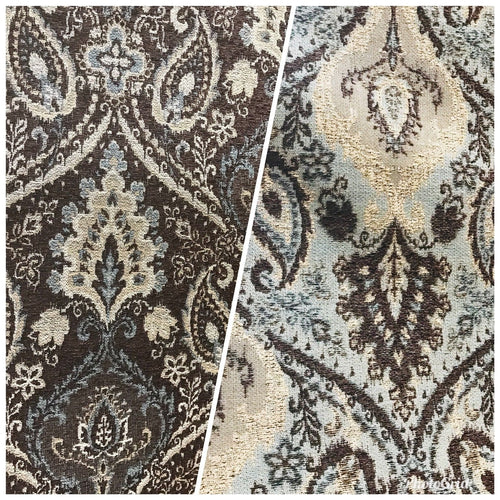 NEW Double Sided Burnout Kilim Rug Inspired Fabric- Blue Brown Upholstery - Fancy Styles Fabric Boutique