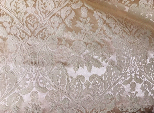 NEW! SALE! Designer Brocade Jacquard Floral Satin Damask Fabric- Pink