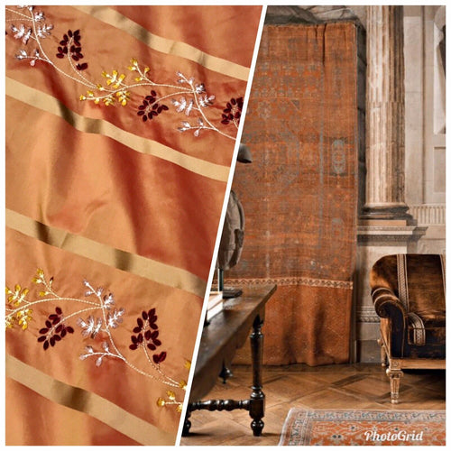 NEW Designer 100% Silk Taffeta Dupioni Floral Embroidery Fabric Orange Gold