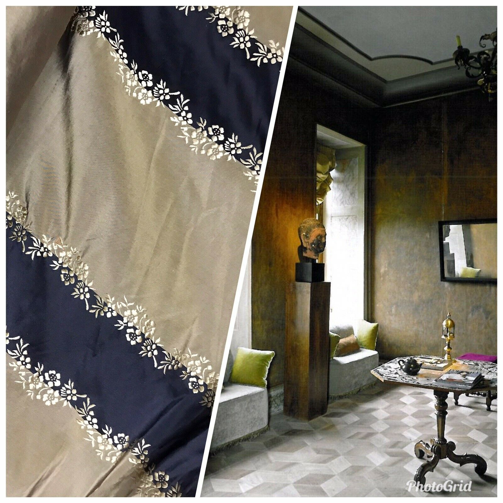 NEW! Lady Kristen 100% Silk Taffeta Embroidered Stripe Floral Fabric- Khaki Black Gold
