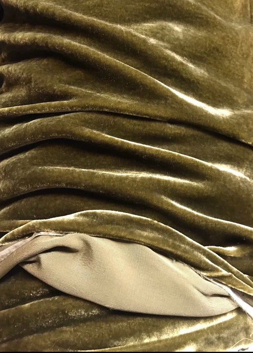 SWATCH- Close-Out Designer Runway Silk Rayon Velvet - Antique Olive Green - Fancy Styles Fabric Boutique