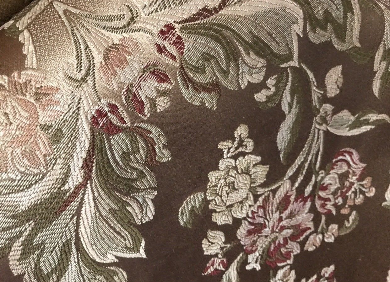 SWATCH Designer Brocade Jacquard Satin Fabric- Antique Floral Rose Gold - Fancy Styles Fabric Boutique