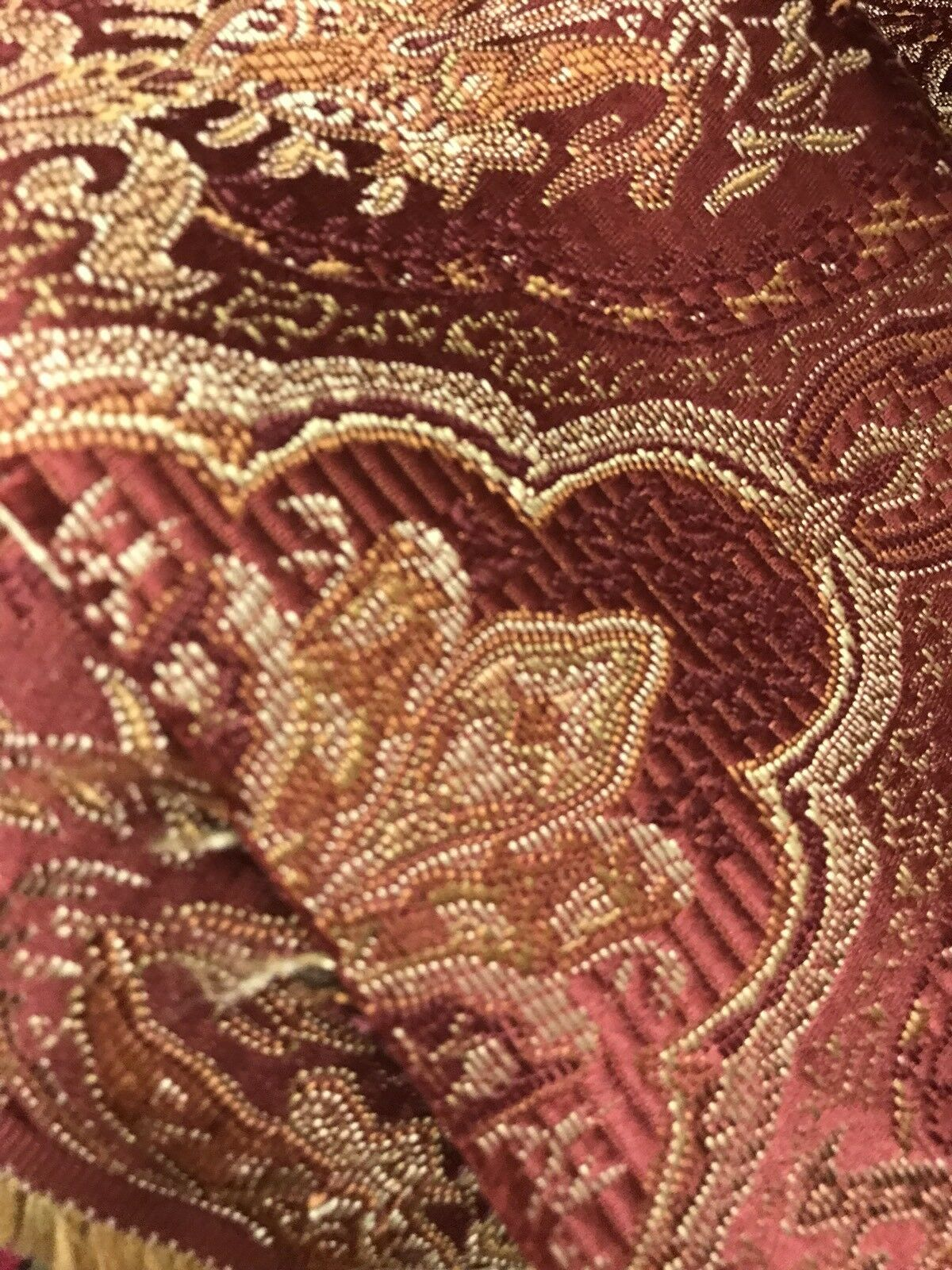 "3/4 Yard Remnant- 110"" wide- Brocade Bohemian Upholstery Fabric - Wine Red"