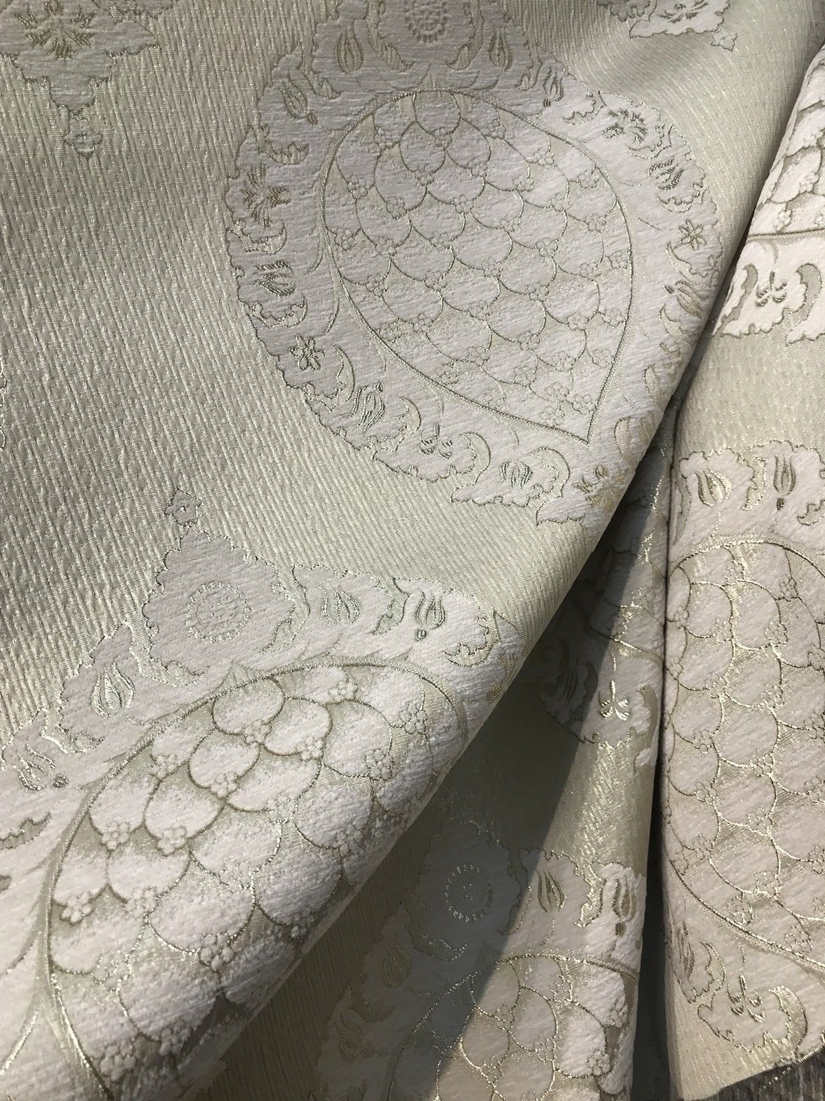 SWATCH Brocade Satin Fabric- Antique Cream And Gold Damask Decorating - Fancy Styles Fabric Boutique