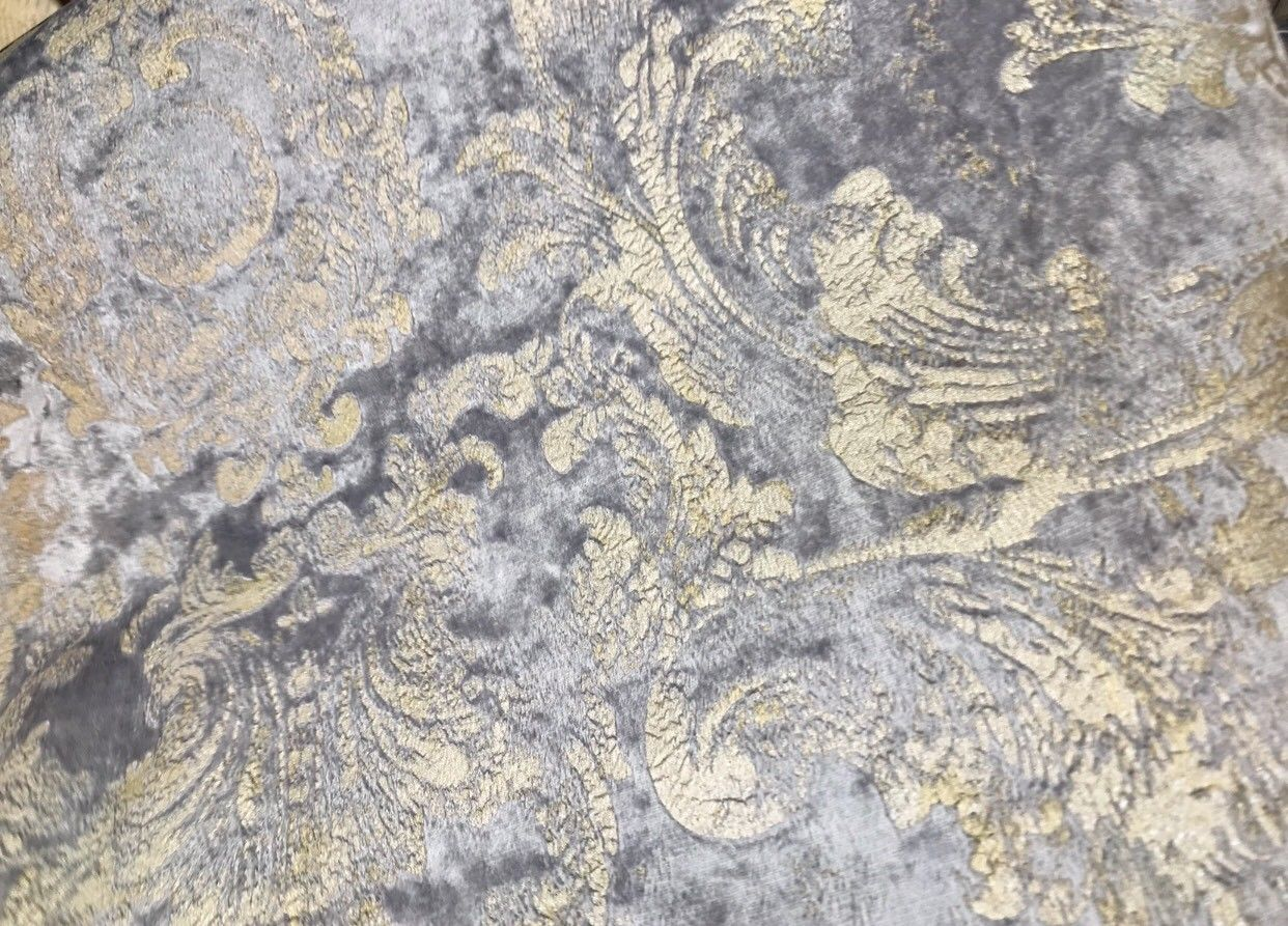NEW! Burnout Antique Inspired Velvet Fabric Silver Lavender-Gray And Gold - Fancy Styles Fabric Boutique
