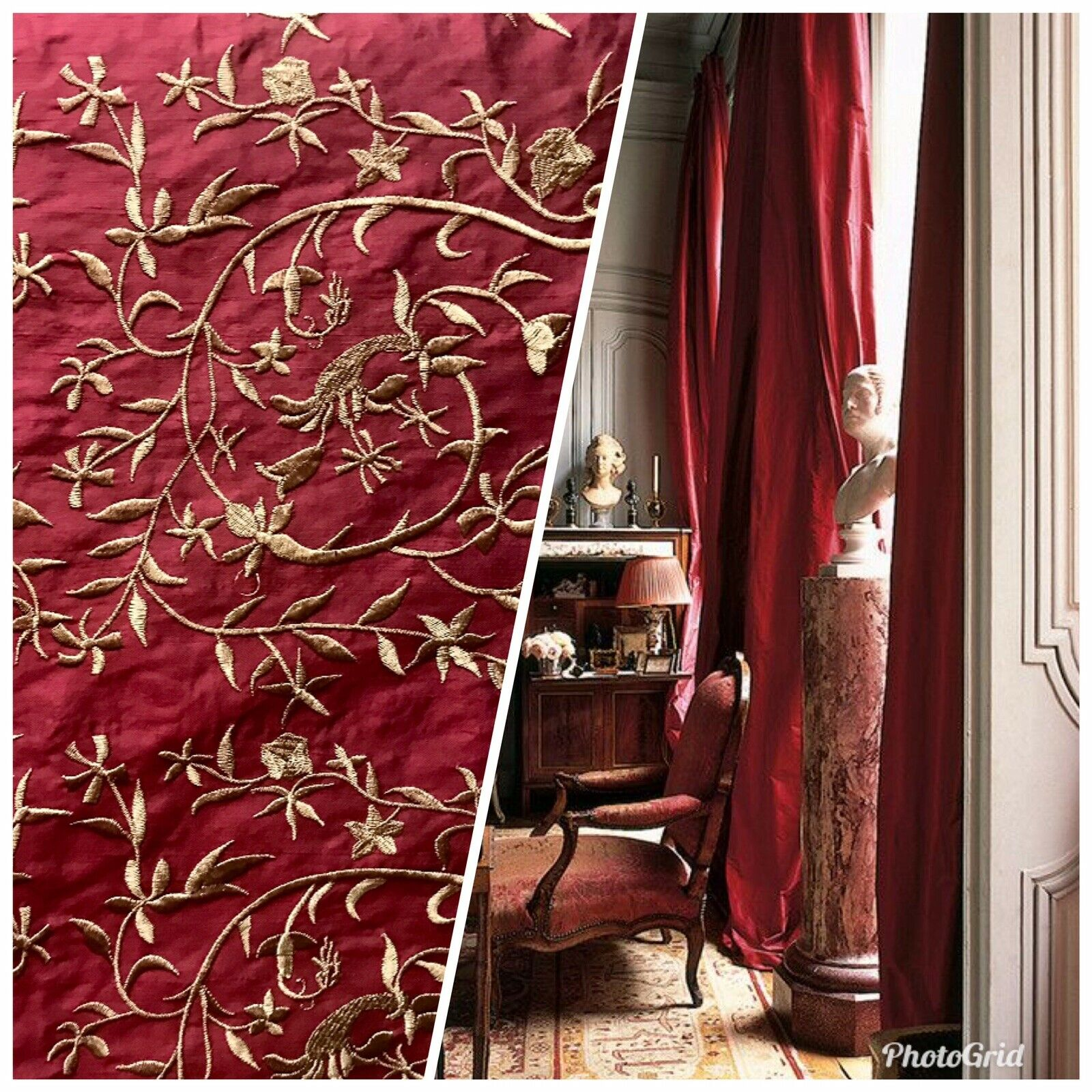 NEW! 100% Silk Dupioni Embroidered Gold Floral Motif Drapery Fabric - Dark Red
