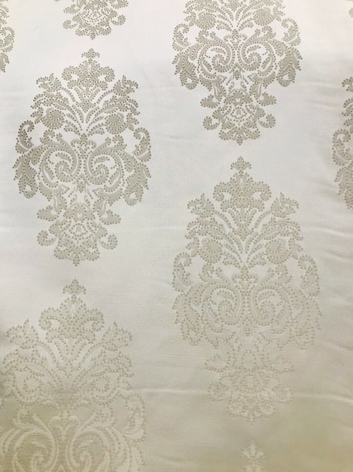 NEW Designer Satin Damask Brocade Upholstery Drapery Fabric - Cream Ivory BTY