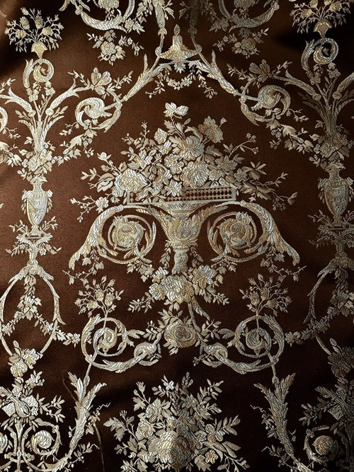 Designer Brocade Satin Fabric- Brown Blue Gold Floral - Damask- Louis XIV - Fancy Styles Fabric Pierre Frey Lee Jofa