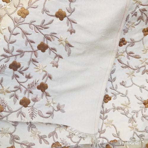 SALE! Designer 100% Silk Taffeta Embroidered Fabric - Beige Floral - Fancy Styles Fabric Boutique