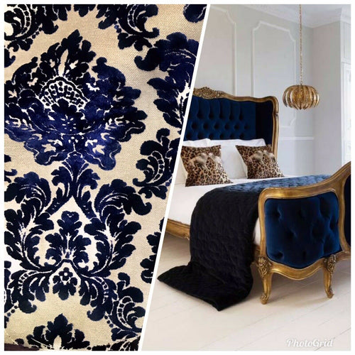 Designer Damask Burnout Chenille Velvet Fabric - Royal Blue BTY