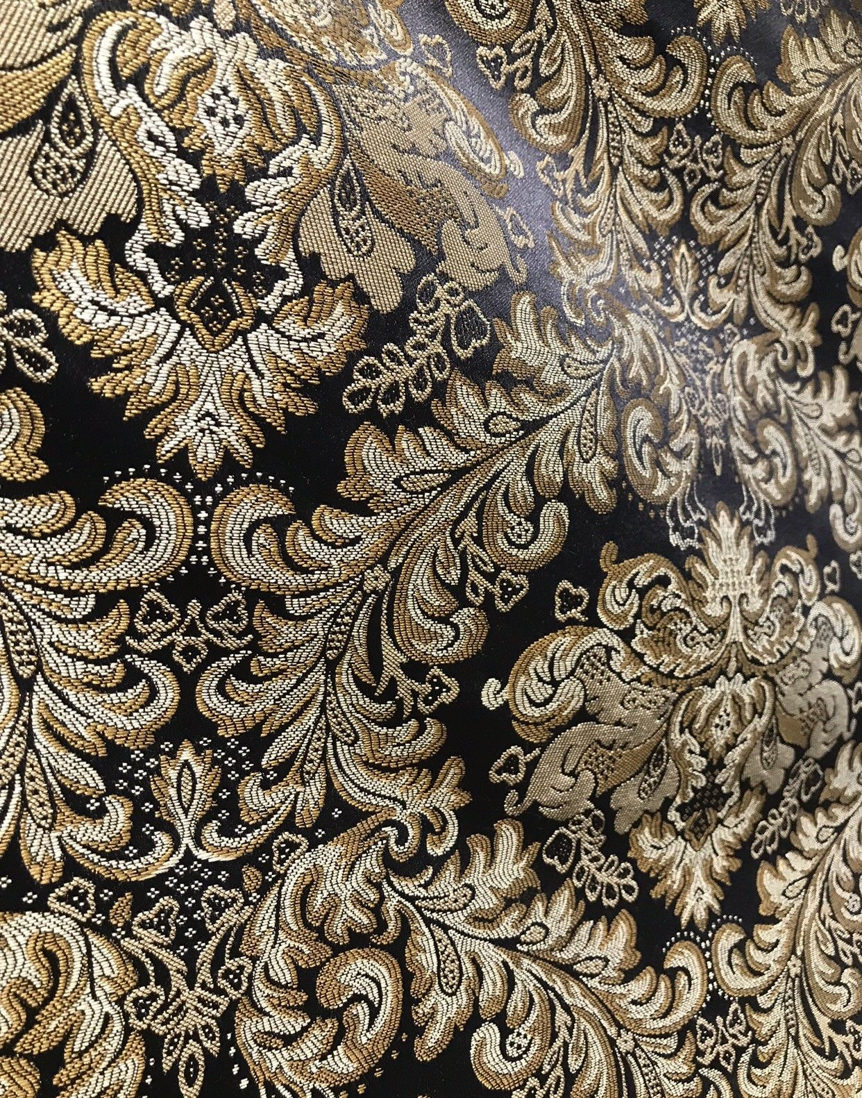 "SWATCH 5"" x 8"" -Brocade Satin Jacquard Fabric- Black Gold- Upholstery Damask LLPBK0003"