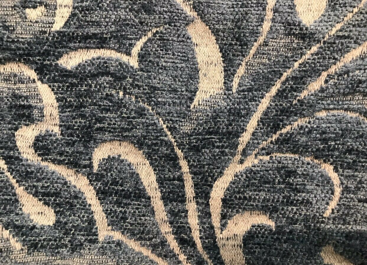 SWATCH- Designer Velvet Chenille Burnout Fabric - Antique Steel Blue