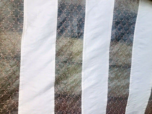 100% Silk Taffeta Striped Drapery Fabric - Ivory, Pink & Clear - Embroidered
