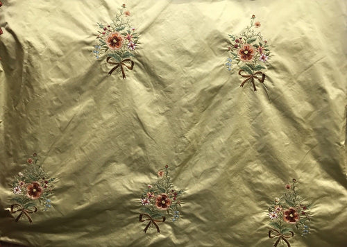 NEW! SALE! 100% Silk Taffeta Fabric - Made in Italy- Floral Embroidered Gold - Fancy Styles Fabric Boutique