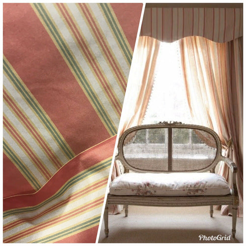 "NEW Designer 100% Silk Taffeta Dupioni Stripes Fabric - Pink 55"" Wide BTY"