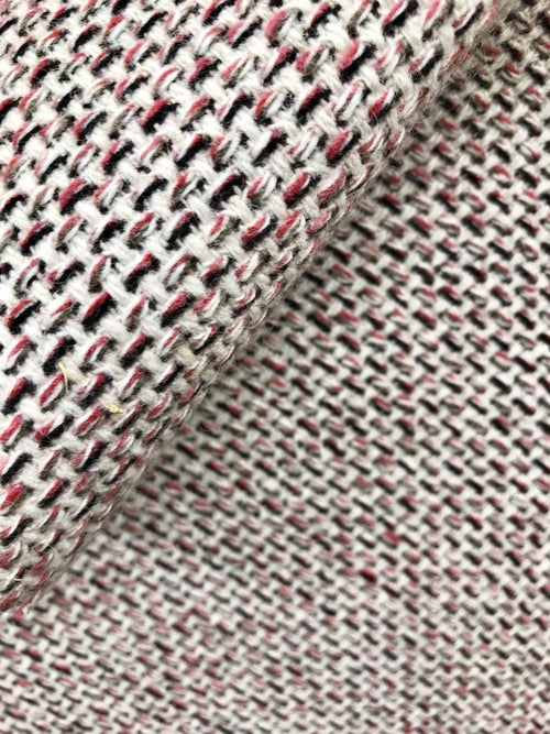 "Designer Imported From Italy Wool Basketweave Tweed Red White Fabric 60"" Wide - Fancy Styles Fabric Pierre Frey Lee Jofa Brunschwig & Fils"