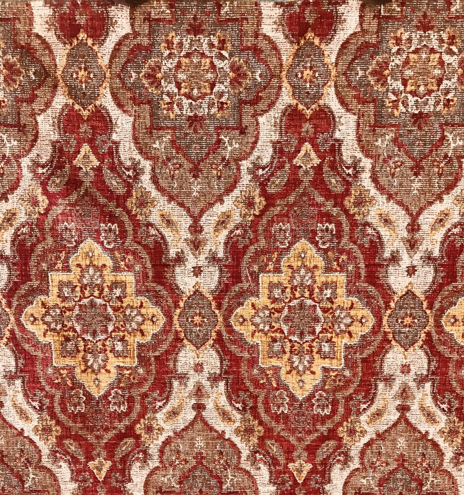 Designer Kilim Rug Inspired Upholstery Fabric Sold By The Yard- Red