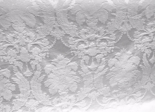 SWATCH Brocade Satin Fabric- Bleached White- Drapery Upholstery Damask