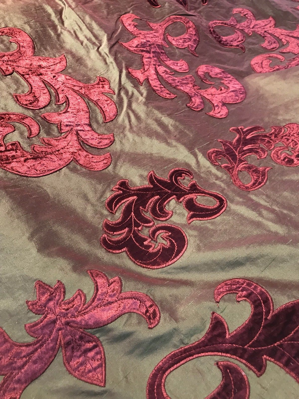 NEW Made In Belgium Designer 100% Silk Taffeta Cut Velvet Fabric- Red - Fancy Styles Fabric Boutique