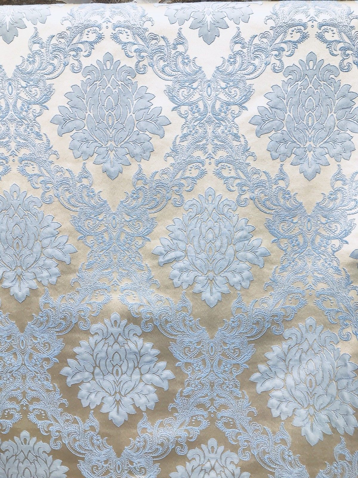 SWATCH Designer Brocade Damask Upholstery Decorating Fabric- Powder Blue - Fancy Styles Fabric Boutique