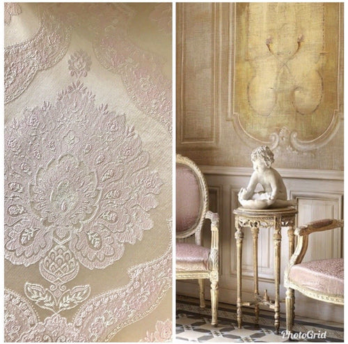 NEW BACK IN STOCK! Designer Brocade Satin Fabric- Pink & Ivory - Upholstery - Fancy Styles Fabric Pierre Frey Lee Jofa Brunschwig & Fils