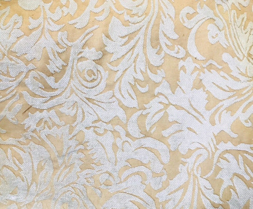 SWATCH- Designer Velvet Chenille Burnout Fabric - Cream Beige- Upholstery - Fancy Styles Fabric Boutique