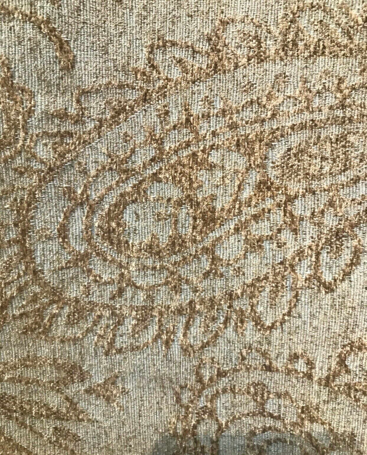 NEW Italian Velvet Chenille Burnout Upholstery Fabric - Sage Green & Taupe BTY