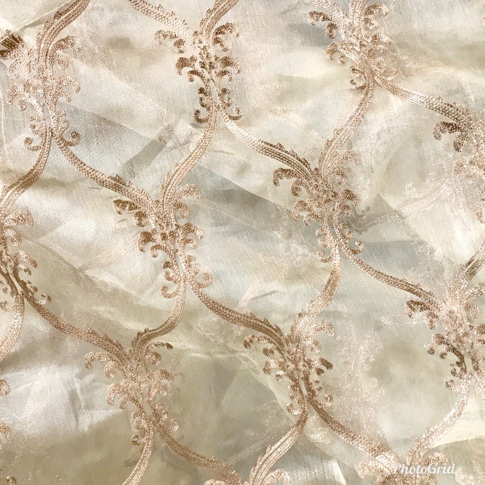 "NEW! 110"" Wide Designer Sheer Voile and Pink Lurex Drapery Fabric - Fancy Styles Fabric Boutique"