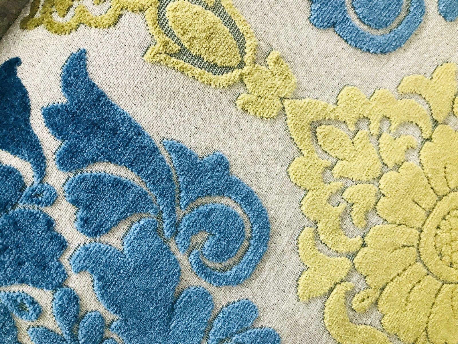 SWATCH- Imported Belgium Burnout Damask Chenille Velvet Fabric Upholstery - Fancy Styles Fabric Boutique