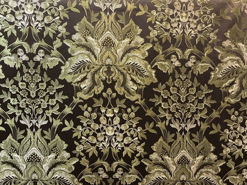 NEW! Brocade Satin Neoclassical Fabric- Brown Palms Damask