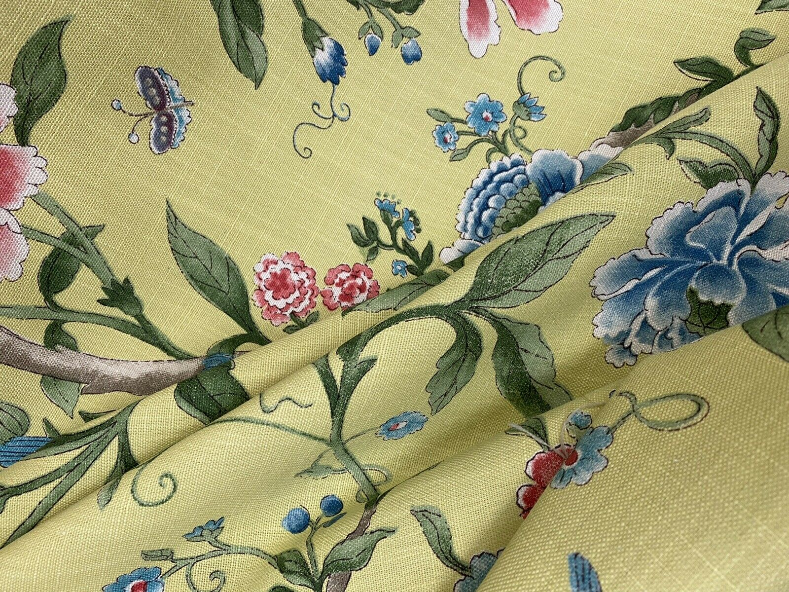NEW! Designer Floral & Bird Motif Drapery Upholstery Fabric- French Yellow