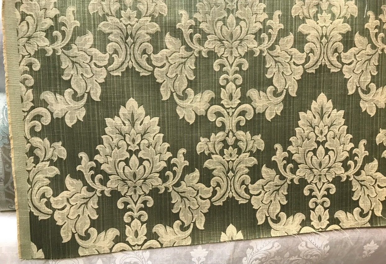 NEW Designer French Satin Brocade Fabric - Ivory And Green- Upholstery Damask - Fancy Styles Fabric Boutique