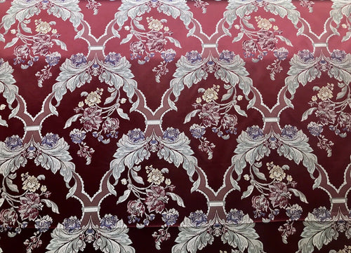 NEW SALE! Designer Brocade Jacquard Fabric- Red Floral- Upholstery Damask