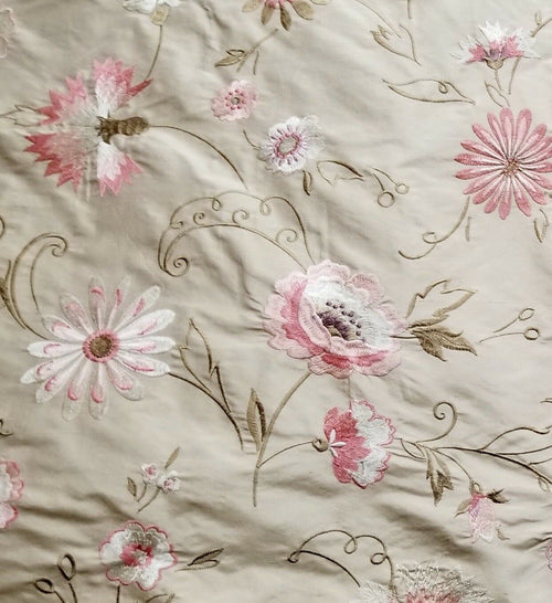 1 Yard Remnant- Princess Flora Novelty 100% Silk Taffeta Embroidered Fabric - Made in India- Floral Pink