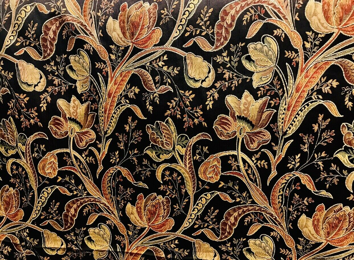 NEW Designer Brocade Satin Fabric- Black Floral-Drapery & Upholstery BTY