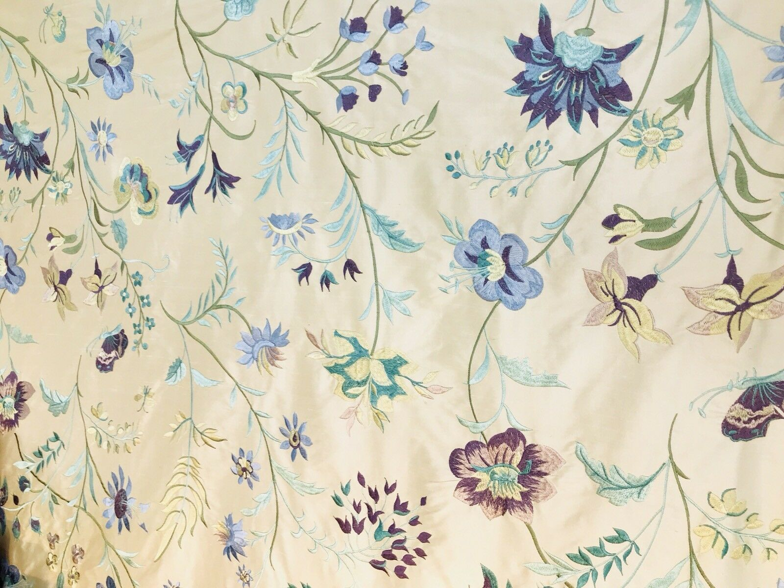 NEW Made In Belgium- 100% Silk Taffeta Embroidered Blue Floral Motif Fabric