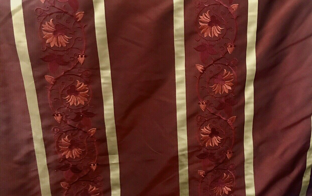 NEW! Designer 100% Silk Taffeta Embroidery Floral Fabric Red and Gold BTY