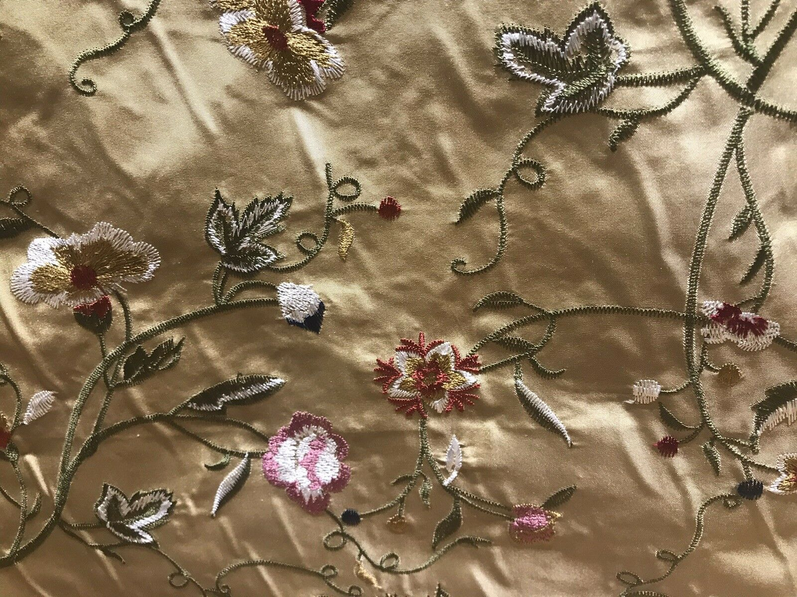 100% Lady Melody Silk Taffeta Dupioni Decorating Fabric Embroidery Floral Gold