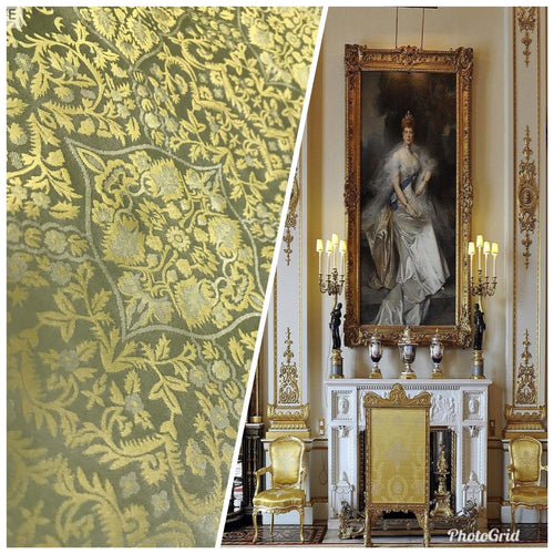 NEW! SALE! 100% Silk Taffeta Interior Design Fabric Damask Brocade French Yellow - Fancy Styles Fabric Boutique