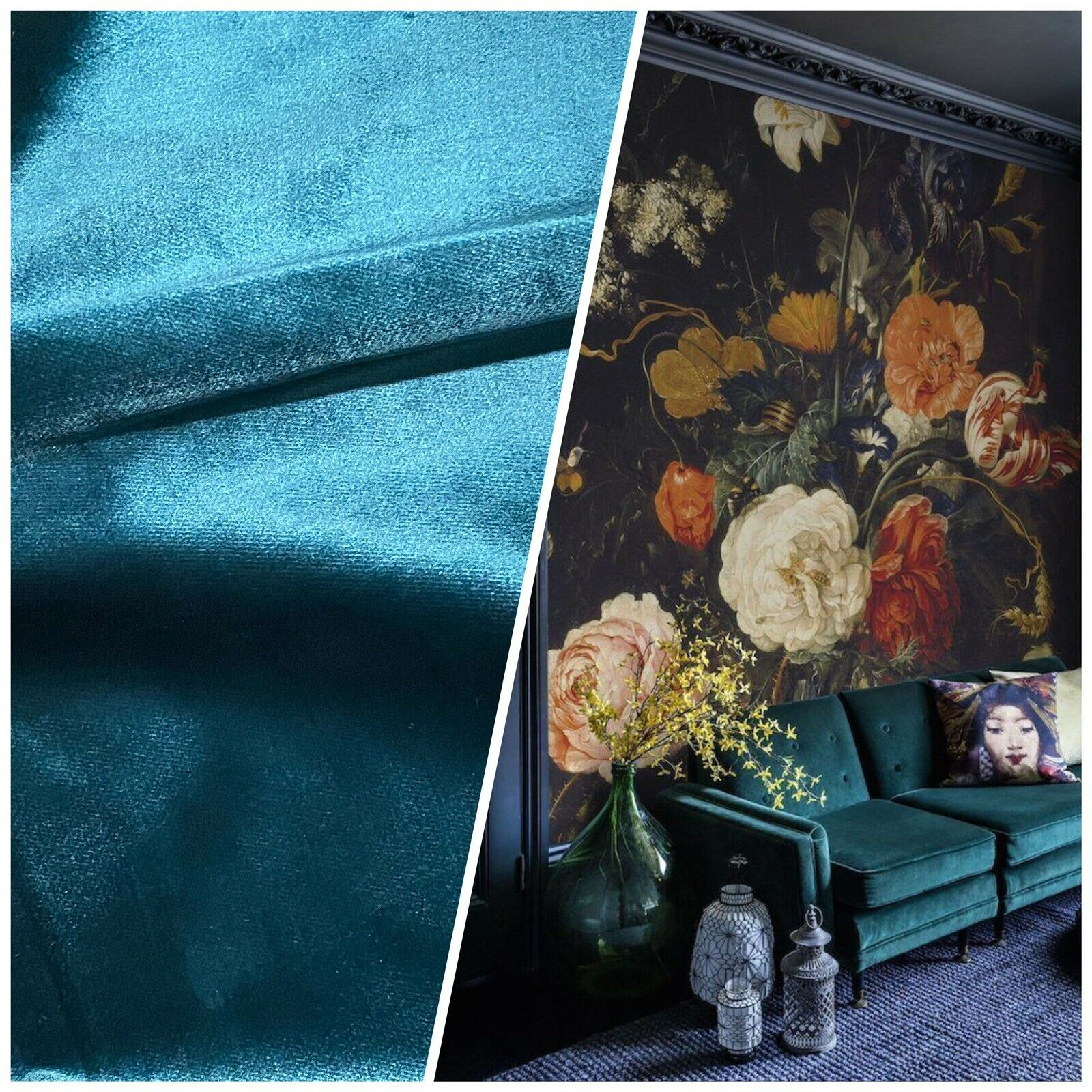 NEW Designer Made In Belgium Upholstery Velvet Fabric - Teal Blue- Peacock