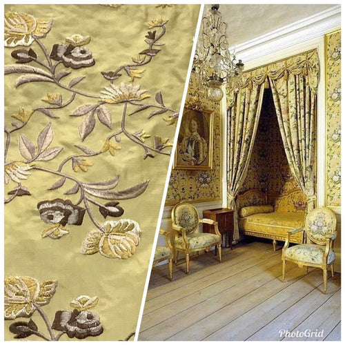 NEW! 100% Silk Dupioni Drapery Yellow Embroidered Floral Fabric- By The Yard