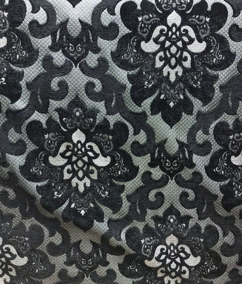 NEW Designer Velvet Chenille Quilted Damask Burnout Upholstery Fabric - Black