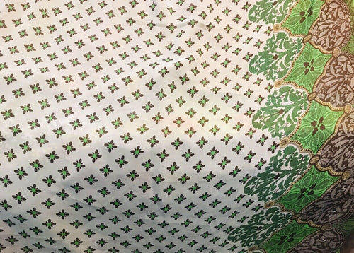 NEW! 100% Silk Chiffon Bohemian Fabric Green Dot Floral By The Yard
