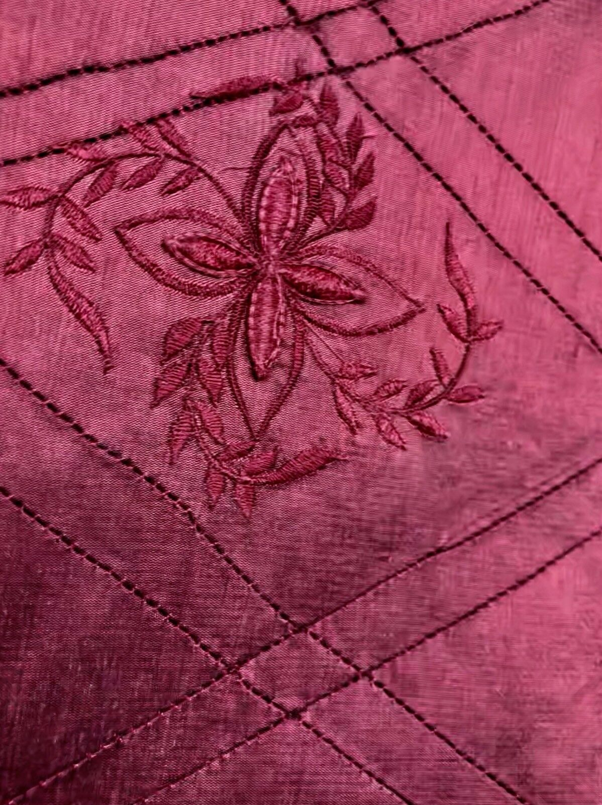 SWATCH 100% Silk Washed Dupioni Embroidered Floral Quilted Motif Fabric - Red