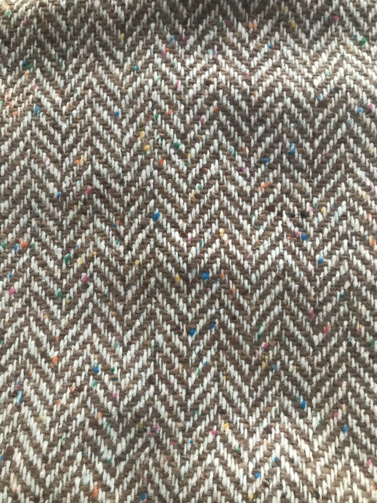 Novelty Designer Wool Oversized Herringbone Chevron Pattern Tweed Fabric - Camel