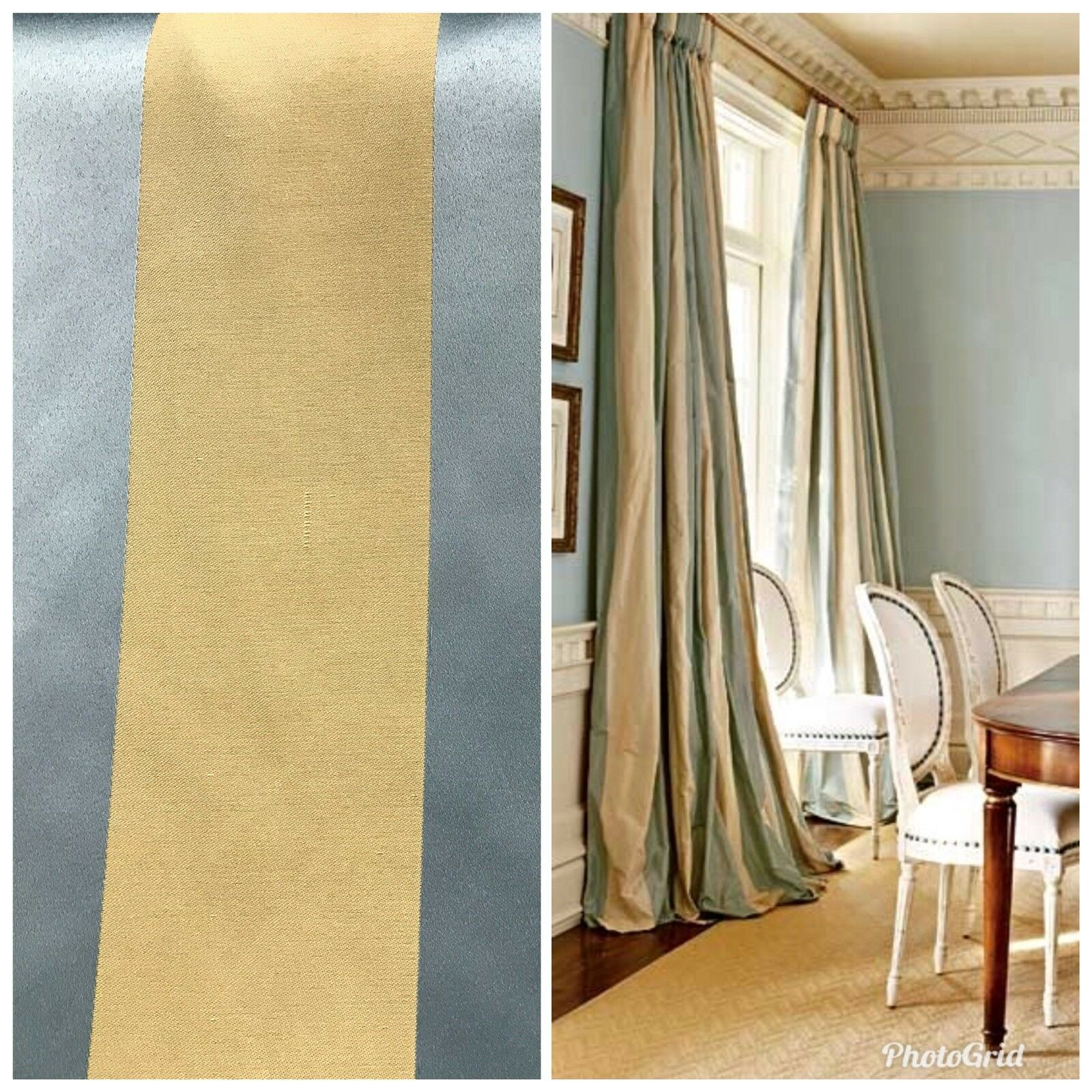 Stripe Satin Interior Design Fabric Antique Blue And Gold